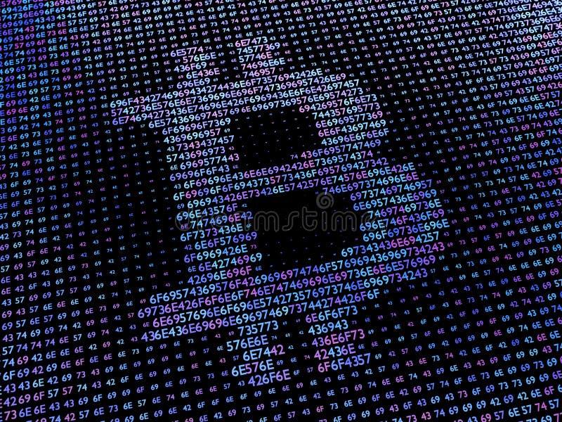 Bitcointeken van de serie die van hexuitdraaiaantallen wordt gemaakt stock afbeeldingen