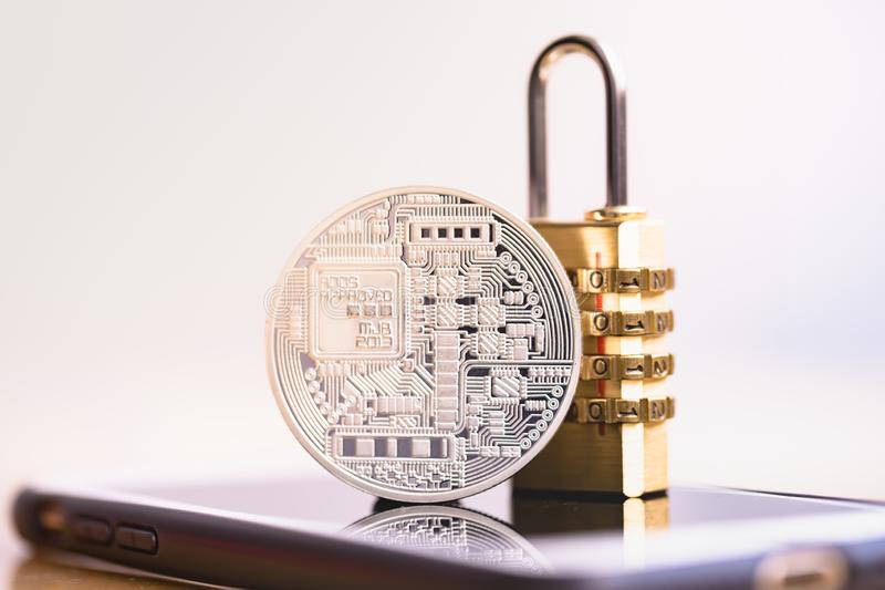 Bitcoinveiligheid stock afbeeldingen