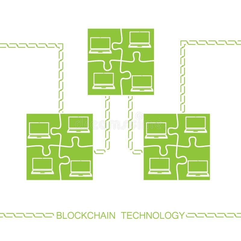 Bitcon del ordenador portátil de Blockchain ilustración del vector