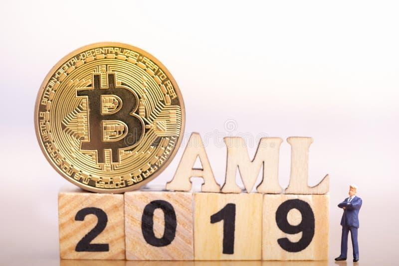 Bitcon en AntiWitwassen van geld royalty-vrije stock fotografie