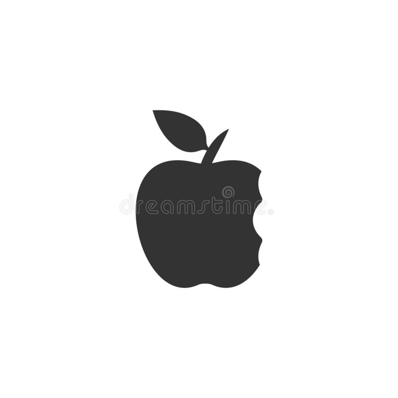 Bite apple icon flat vector illustration
