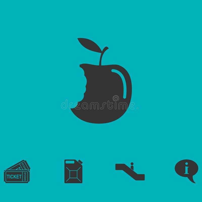 Bite apple icon flat stock illustration