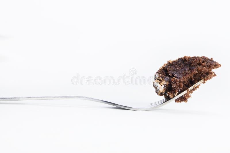Bite of chocolate cake stock photos