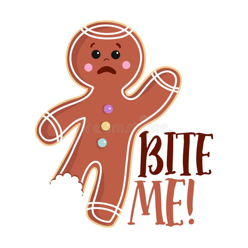 Free Bite Me - Hand Drawn Vector Gingerbread Man. Royalty Free Stock Photo - 162942185