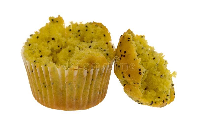 Bite size lemon poppy seed muffin broken royalty free stock image