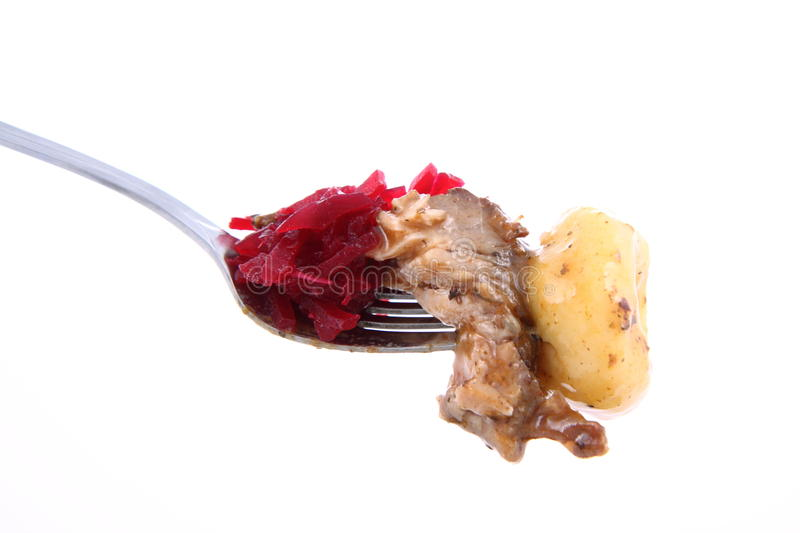 Download Bite Of Steak, Dumpling And Beets Stock Photo - Image: 18494044