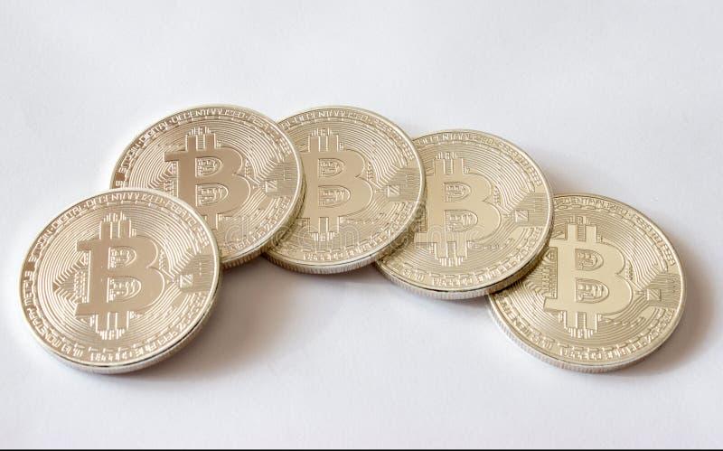 Bitecoins de plata - moneda crypto digital fotografía de archivo libre de regalías