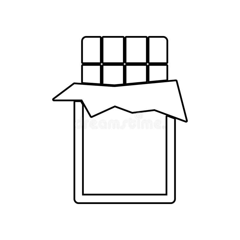 Biten symbol f?r chokladst?ng E ?versikt tunn linje symbol f?r websitedesign och vektor illustrationer