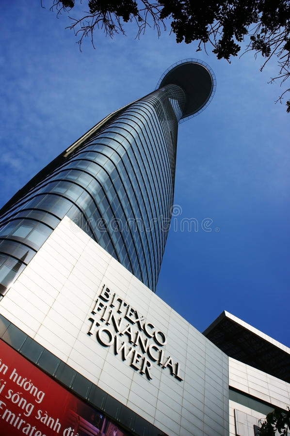Bitexco Financial Tower ( Lotus Tower). HO CHI MINH CITY (SAI GON), VIET NAM: Bitexco Financial Tower ( Lotus Tower) with height 262m rise up to sky in Ho Chi stock images