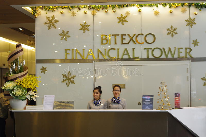 Bitexco Financial Tower. Receptionist at Bitexco Financial Tower in Ho Chi Minh City in Vietnam royalty free stock images