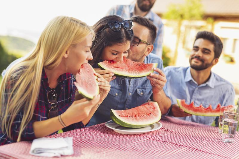 Biting watermelon slices. Group of friends having an outdoor lunch, eating fresh watermelon slices and having fun royalty free stock photography