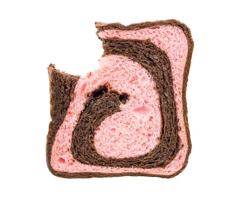 Bitit bröd för jordgubbeblandningchoklad royaltyfri fotografi