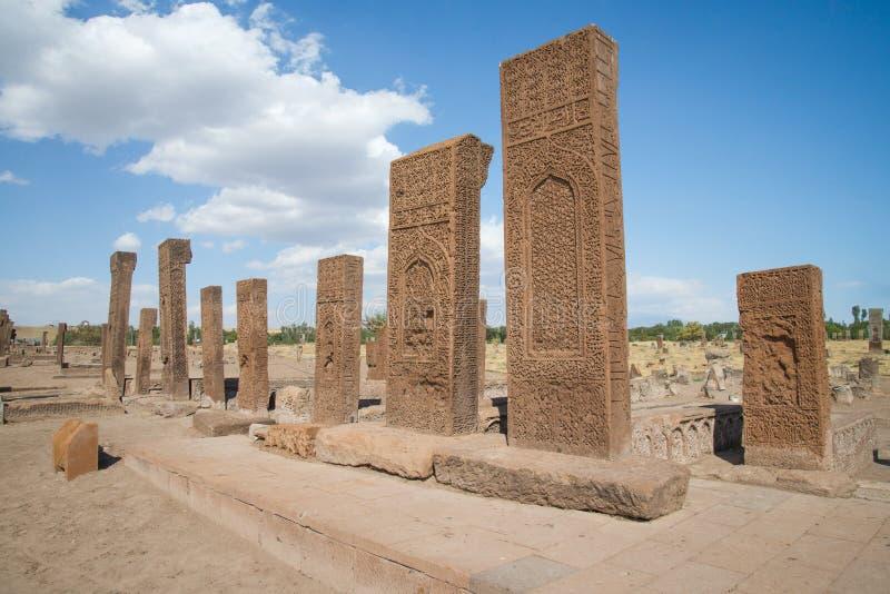 Bitlis Turkiet - September 28, 2013: Seljuk kyrkogård av Ahlat, gravstenarna av medeltida islamiska notabiliteter royaltyfria bilder