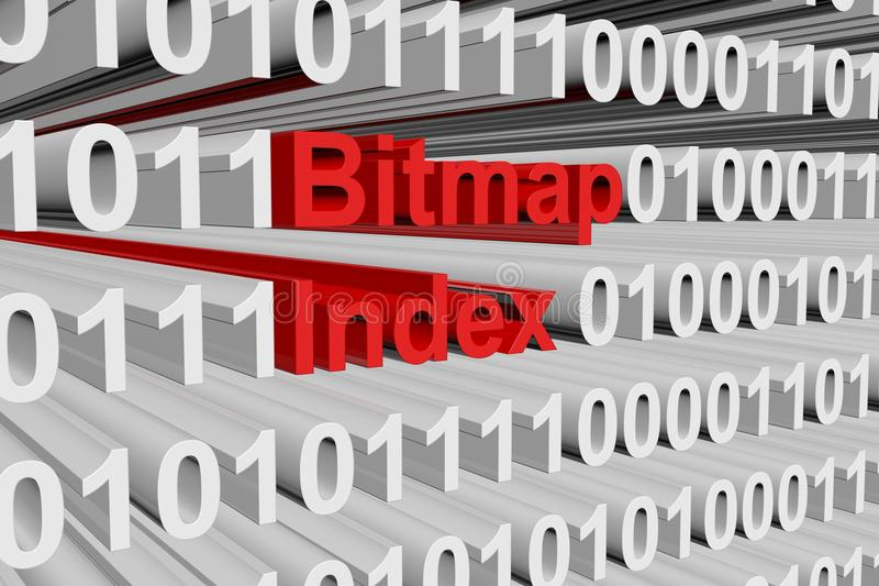 Bitmap index. In the form of binary code, 3D illustration royalty free illustration