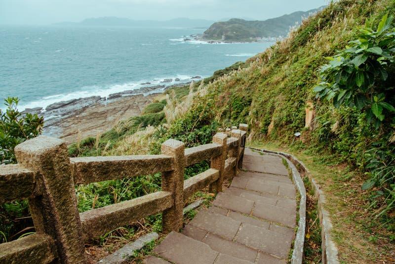 Bitou Cape Hiking Szlak w dystrykcie Ruifang, Nowe Tajpej, Tajwan fotografia stock