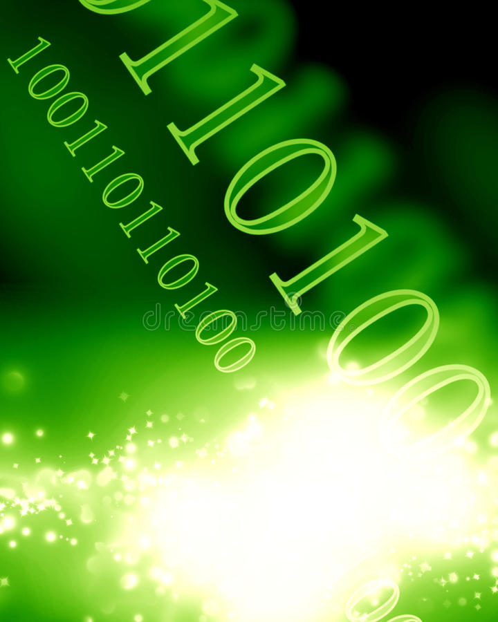 Bits and bytes. On a soft glowing green background stock photos