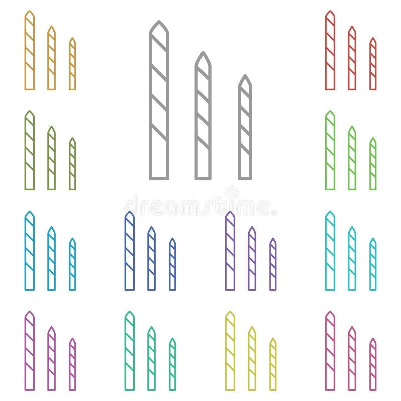 Bits, carbide, drill, pictogram met meerdere kleuren Eenvoudige dunne lijn, omlijnde vector van constructietools voor ui en ux, w stock illustratie