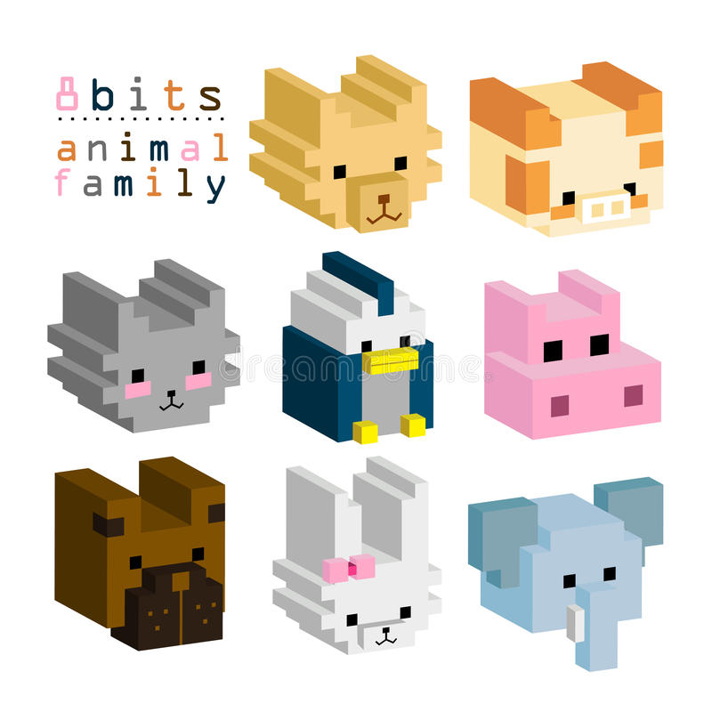 8BITs famiglia animale 01 royalty illustrazione gratis