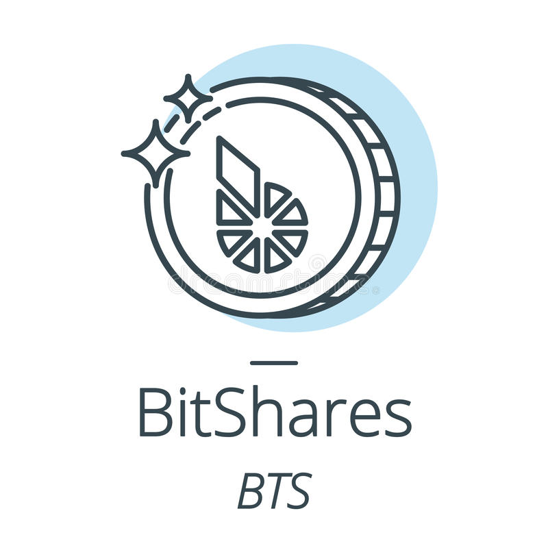 BitShares cryptocurrency coin line, icon of virtual currency. Vector stock illustration
