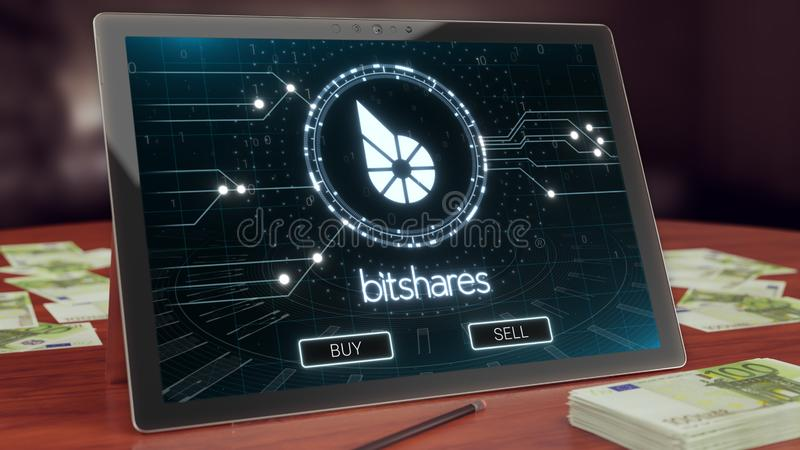 Bitshares cryptocurrency logo na komputer osobisty pastylce, 3D ilustracja royalty ilustracja