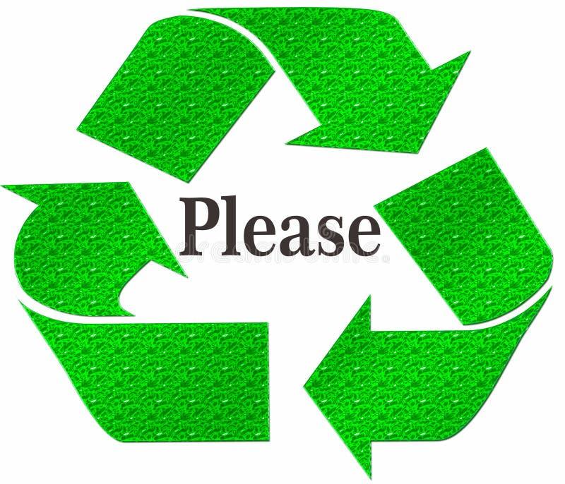 BITTE Recycling-Symbol lokalisiert auf einem weißen Hintergrund vektor abbildung