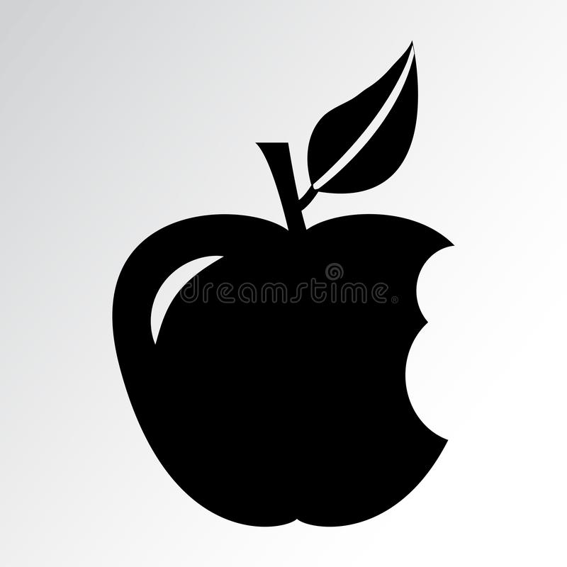 Bitten apple. Vector illustration. Bitten apple. Black silhouette Vector illustration stock illustration