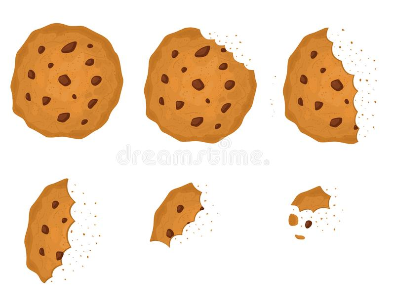 Bitten Chip Cookie with Chocolate Set. Vector vector illustration