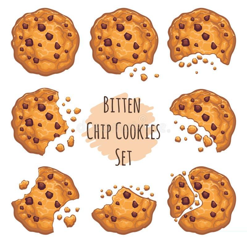 Bitten chocolate chip cookies set royalty free illustration
