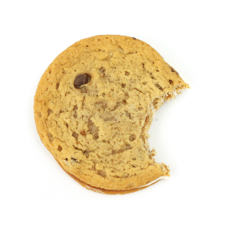 Bitten Chocolate Chip Creme Cookie Royalty Free Stock Image