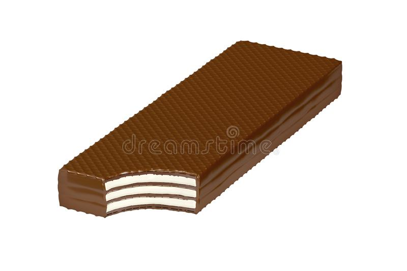 Bitten chocolate wafer. Isolated on white background vector illustration
