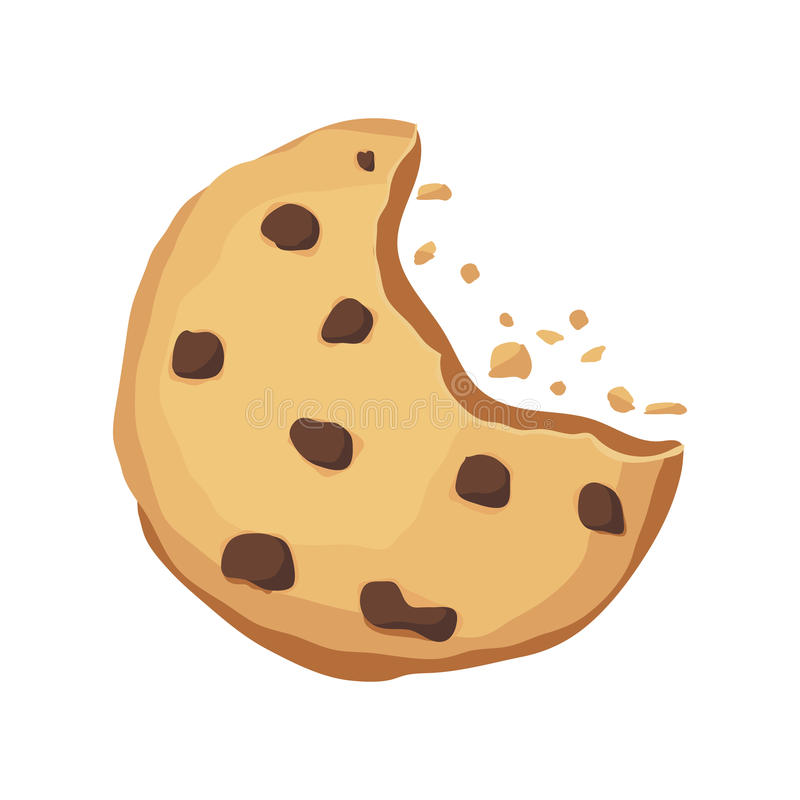 Bitten cookie with chocolate. Choco cookie icon. Vector illustration vector illustration