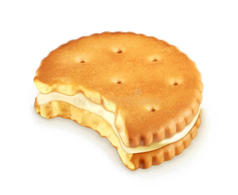 Bitten cookie icon. Bitten cookie vector icon, on white background vector illustration