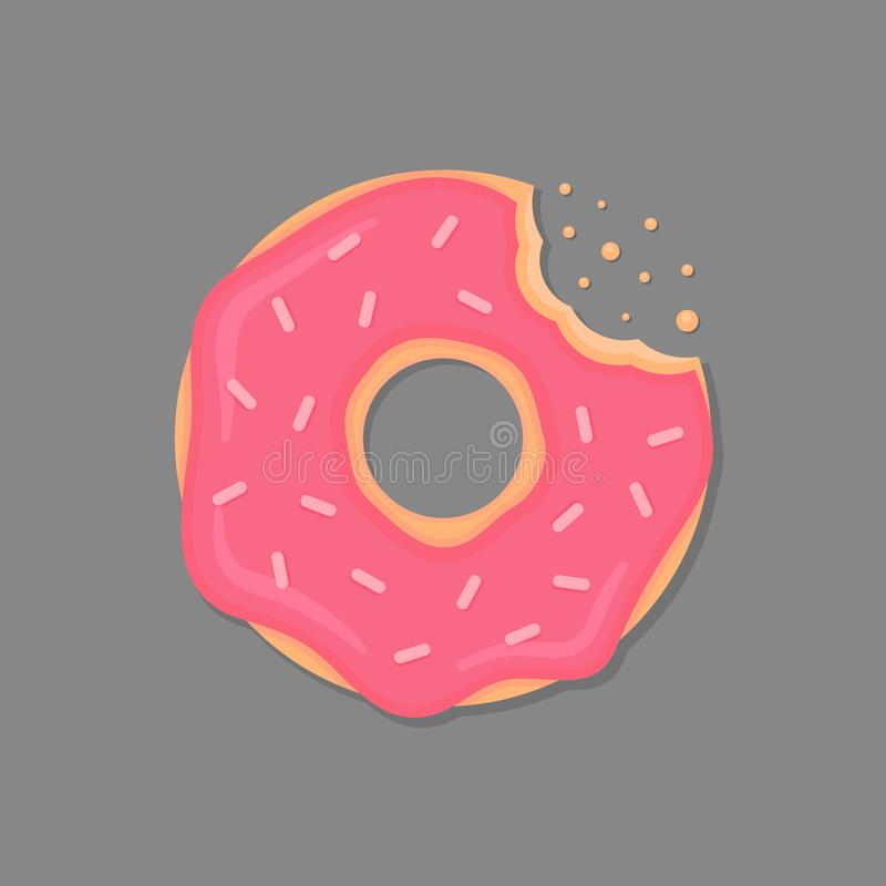 Bitten donut with pink icing and sprinkles. Cartoon doughnut. Vector donut icon. Bitten donut with pink icing and sprinkles. Cartoon doughnut. Vector donut icon royalty free illustration