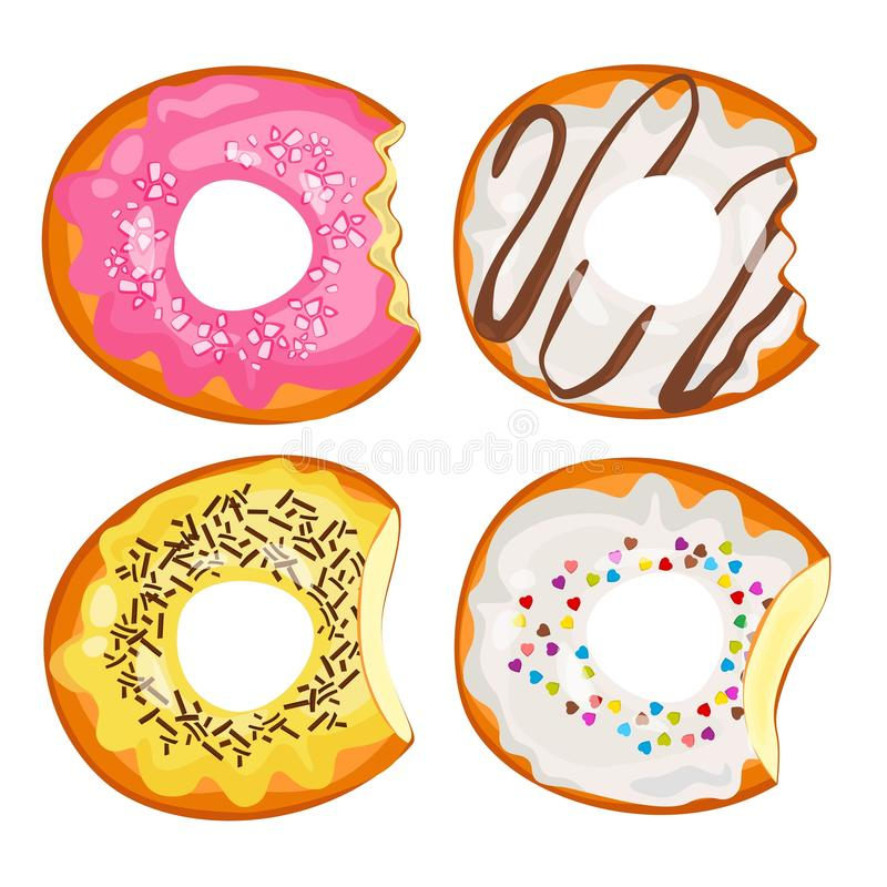 Bitten donuts in sweet fruit and chocolate glaze vector illustration