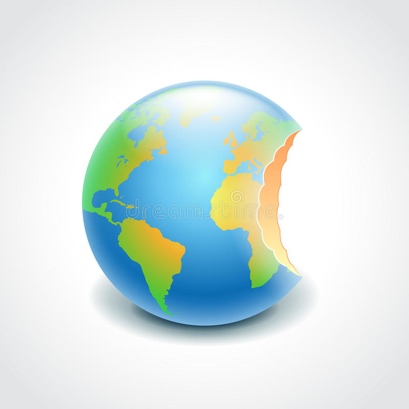 Bitten globe, environment concept vector vector illustration
