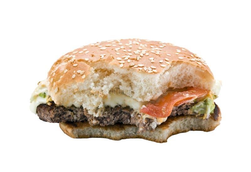 Bitten Hamburger stock photography