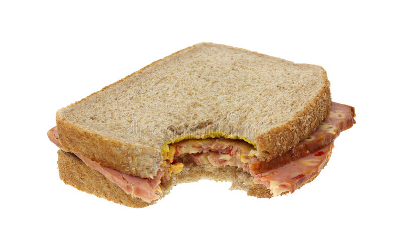 Bitten macaroni and cheese sandwich royalty free stock photo