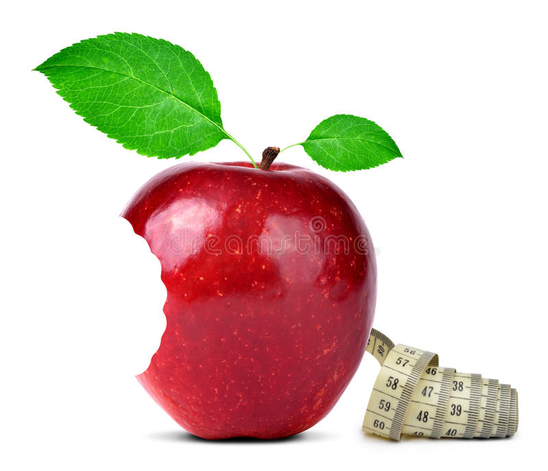 Download Bitten Red Apple With Measuring Tape Stock Photo - Image: 39239854