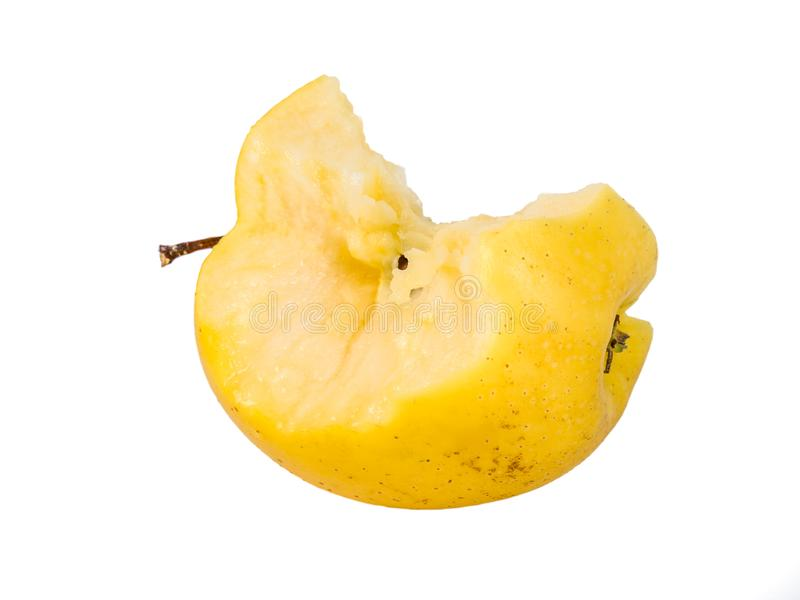 Bitten yellow apple fruit on white background.  stock images