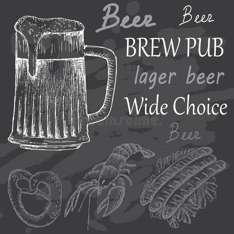 Bitter beer. Hand drawing set of vector sketches vector illustration