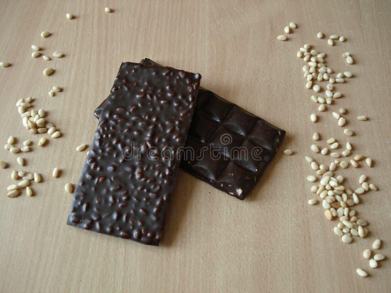 Bitter choklad med sörjer muttrar Cederträmutter nära chokladstången royaltyfria bilder