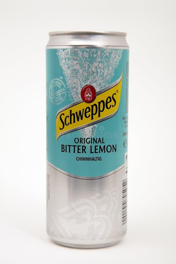 Bitter citron SCHWEPPES royaltyfria bilder