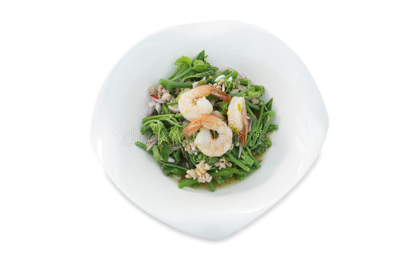 Bitter gourd Stem Spicy thai Salad with Shrimp on isolated white background stock image