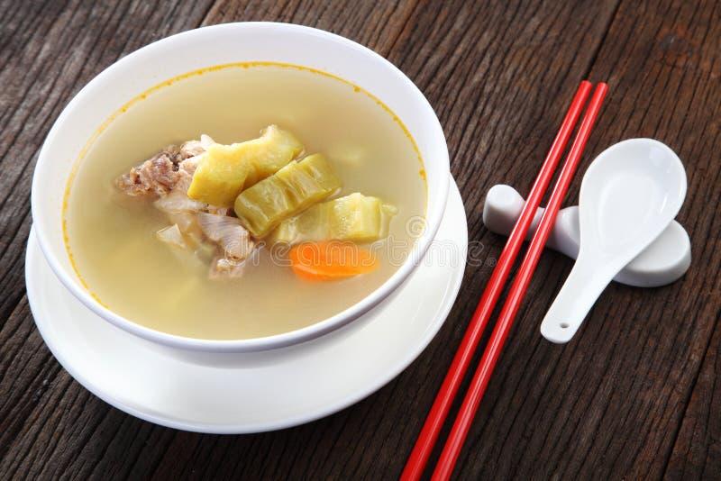 Bitter kalebass med soppa för grisköttstöd royaltyfri fotografi