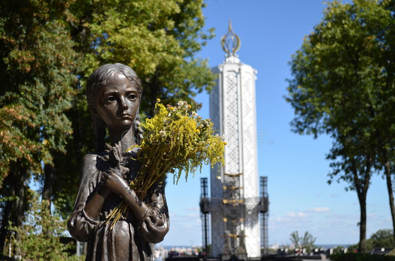 Bitter Memory of Childhood. Monument to victims of Holodomor. stock photography