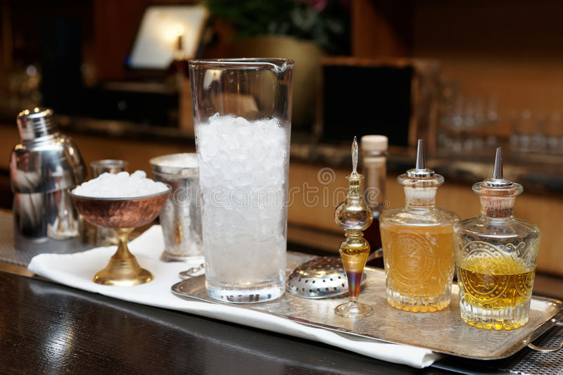 Bitters and infusions on a bar counter royalty free stock photos