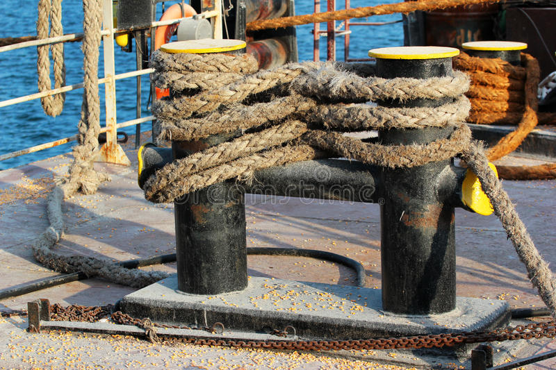 Bitts on ship deck. Old bitts on ship deck royalty free stock photography