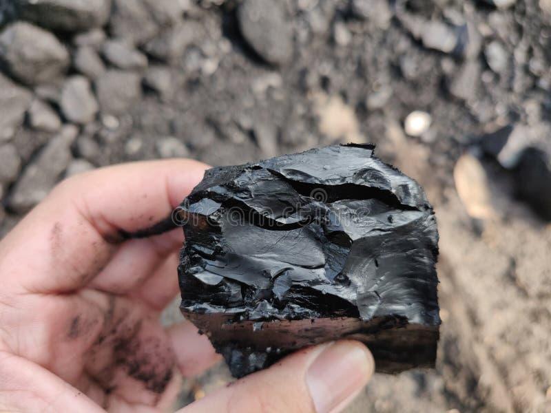 Bitumiczny - antracyta węgiel, wysokiego pozioma węgiel na ręce fotografia stock