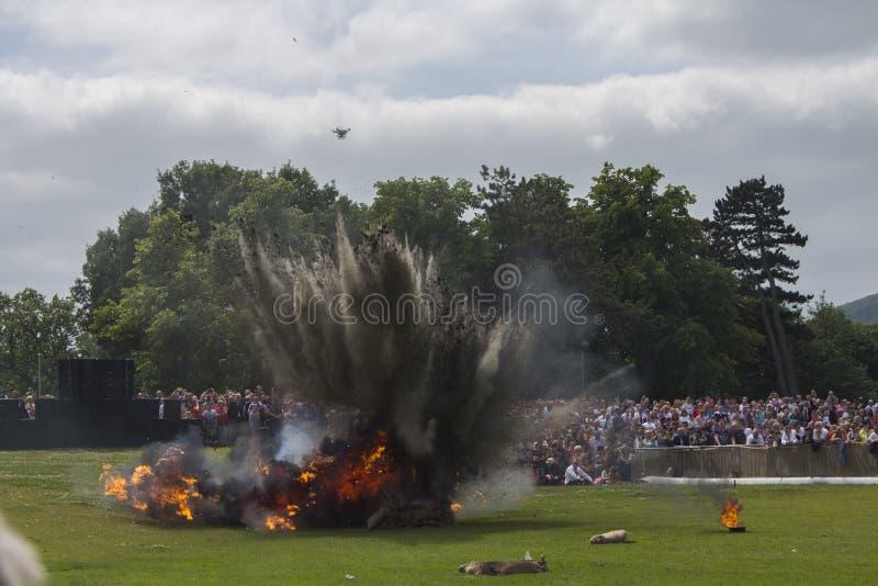 Bitwa Somme Reenactment wybuch obrazy royalty free