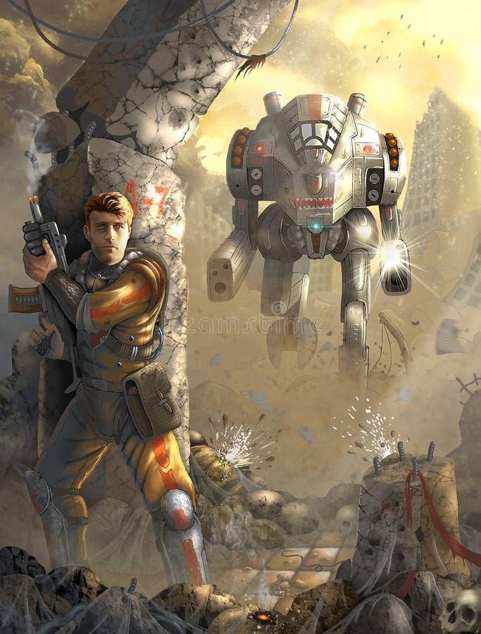 Bitwa z robotem royalty ilustracja